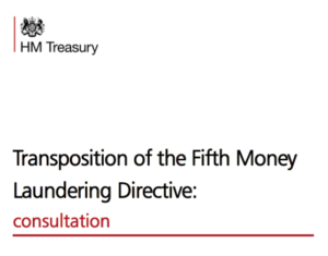 Text on a white background that reads: HM Treasury - Transposition of the Fifth Money Laundering Directive: consultation