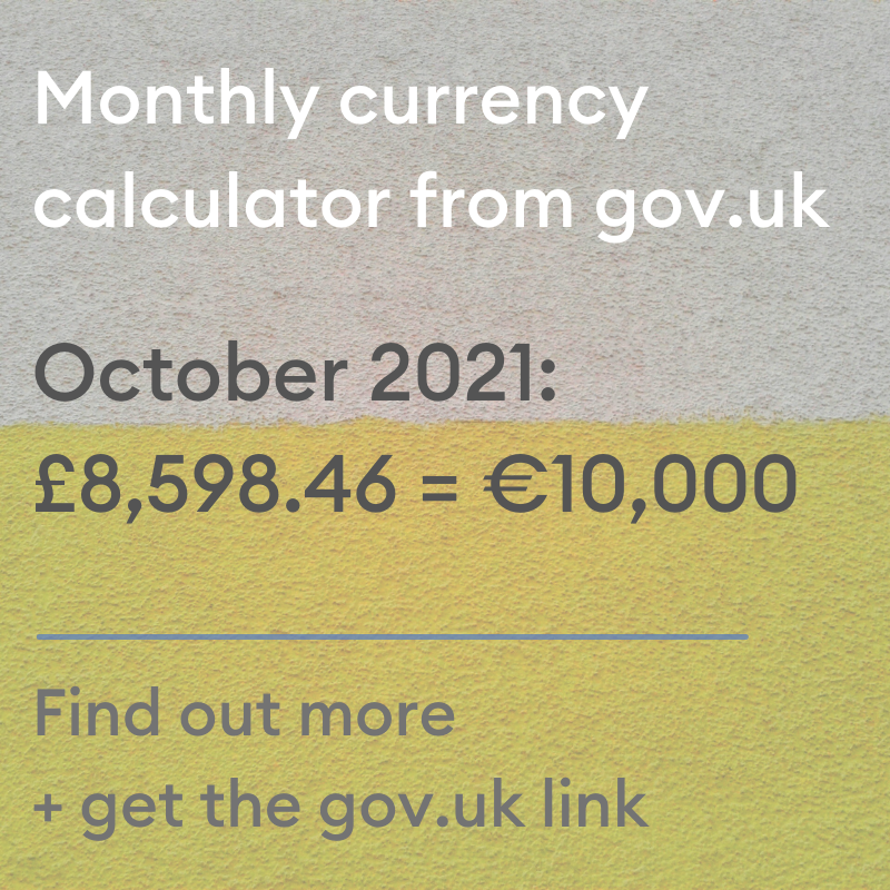 Currency convertor €10,000 to sterling, September 2021